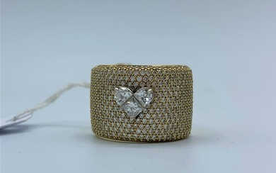 18ct yellow gold diamond set band ring 14.6g 3.50ct approx, ...