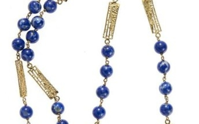 18kt yellow gold, blue gemstone and ruby necklace