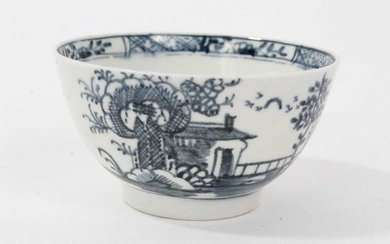 18th century Lowestoft blue and white porcelain tea bowl, decorated with a chinoiserie pattern, ex. Sutherland collection