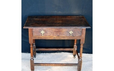 18th century oak hall table, the moulded rectangular top ove...
