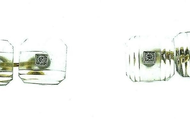 1910's 14K Yellow Gold Diamond Rock Chrystal Cufflinks