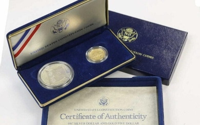 1987 SILVER DOLLAR & GOLD FIVE DOLLAR PROOF SET