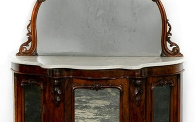 19th C. Rosewood Rococo Revival Mirrored Sideboard