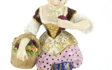 19th century Chelsea hand painted figurine of a girl