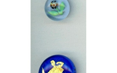 2 20TH CENTURY GLASS PAPERWEIGHT BUTTONS.