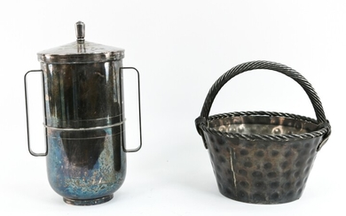 (2) MID-CENTURY SILVERPLATED SERVICE ITEMS