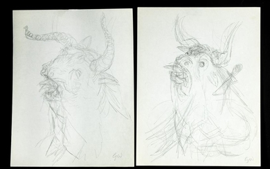 2 Signed Mid 20th C. Garth Williams Minotaur Drawings