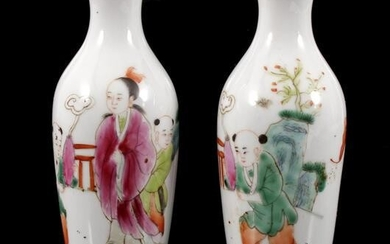 2 porcelain vases with decor of figures, China ca.1720