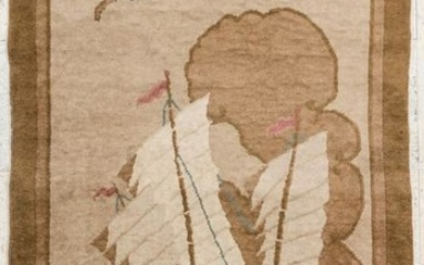 2pc Chinese Art Deco Nichols Wool Scatter Rugs.
