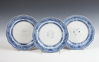 3 PIECES CHINESE EXPORT ARMORIAL PORCELAIN PLATES, 19th century. -...