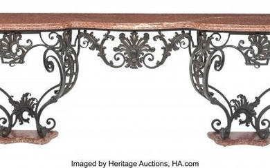 61057: A Spanish Wrought Iron Console Table with Marble