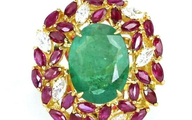 6.35 tcw Emerald Ruby Natural Diamond Ring in 18K