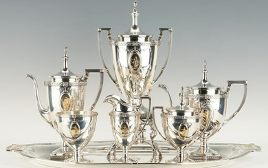 7 Pcs. Pompeiian Sterling Tea Set and Sterling Tray