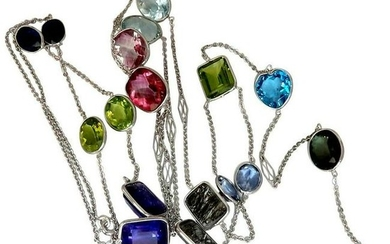 80 Carat Assorted Gem Line Station Yard Necklace 14
