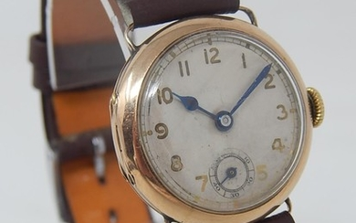 9ct Gold Gentleman's Trench Watch with seconds subsidiary di...