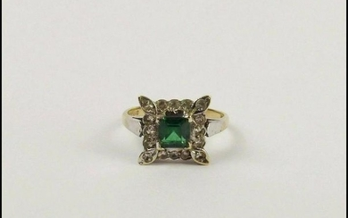 9ct Yellow Gold Russian Diopside & Glass Ring UK Size M