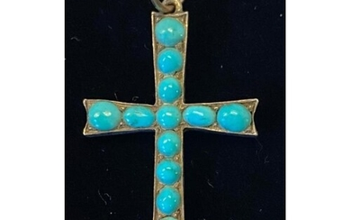 9ct yellow Gold hand made Turquoise Cross. This is a very un...