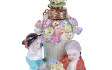 A Charles Gouyn St. James's factory type scent bottle and stopper modelled with children about a basket of flowers