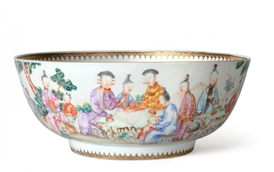 A Chinese Porcelain Punch Bowl, Qianlong, painted in famille rose...