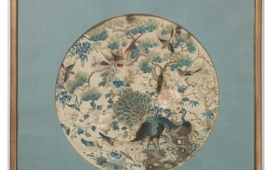 A Chinese Silk Panel with Peacocks