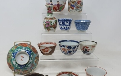 A Chinese porcelain hexagonal tea bowl, decorated in undergl...