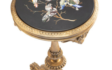 A Continental Carved Giltwood Side Table with Pietre Dure Top (19th century)