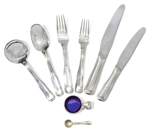 A DANISH SILVER FLATWARE SERVICE FOR TWELVE, GEORG JENSEN, COPENHAGEN, POST-1945, IMPORT MARKS FOR LONDON, 1978