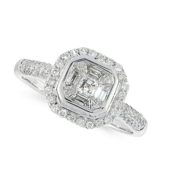 A DIAMOND DRESS RING in 18ct white gold, set with an