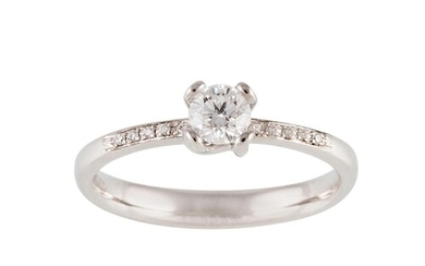A DIAMOND SOLITAIRE RING, mounted in 18ct white gold. Estima...