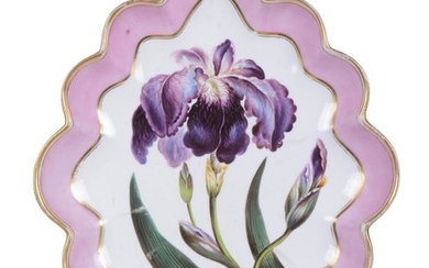 A Derby botanical shaped oval serving dish painted with an iris and attributed to William 'Quaker' Pegg, circa 1800