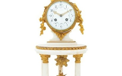 A French Gilt Bronze Mounted Marble Portico Clock