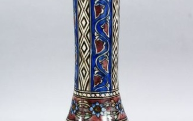 A GOOD PERSIAN QAJAR POTTERY VASE, decorated with