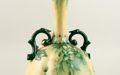 A HADLEY WORCESTER TWO HANDLED BULBOUS VASE painted