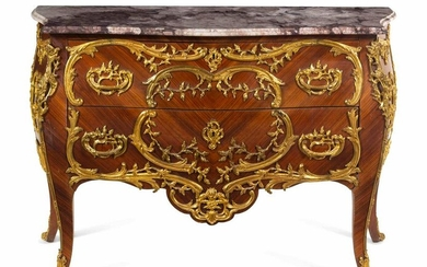 A Louis XV Style Gilt Metal Mounted Kingwood Marble-Top