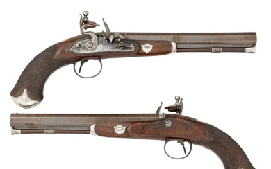 A PAIR OF 20 BORE SILVER-MOUNTED FLINTLOCK OFFICER'S PISTOLS BY BRUNN