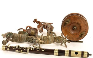 A PAIR OF BRASS AND LEATHER SPURS, A LATE VICTORIAN BRASS MO...