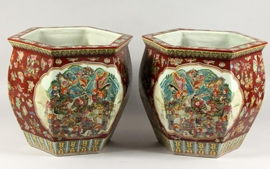 A PAIR OF CHINESE POTTERY HEXAGONAL PLANTERS. 1ft