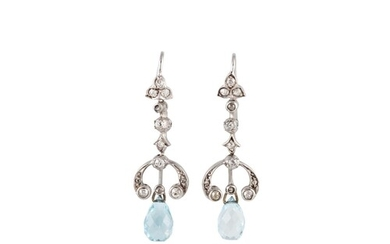 A PAIR OF DIAMOND AND AQUAMARINE EARRINGS, of drop design, t...