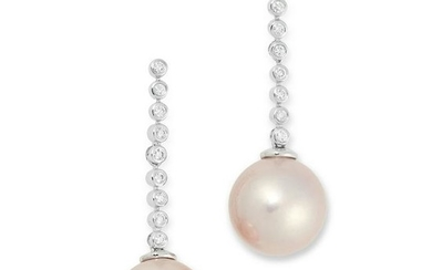 A PAIR OF DIAMOND AND PINK PEARL DROP EARRINGS set with
