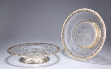 A PAIR OF FRENCH SILVER-MOUNTED GLASS DISHES, late