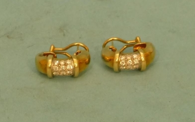 A Pair Of High Carat Gold Round Ladies Earrings...