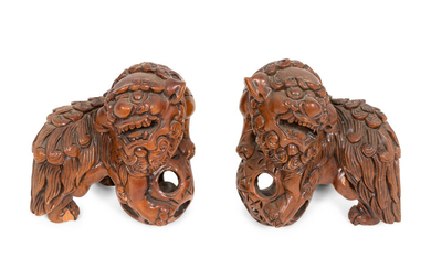 A Pair of Carved Wood Guardian Lions