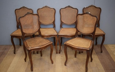 A SET OF SIX LOUIS XV STYLE WALNUT DINING CHAIRS CIRCA 1880 (A/F) (94H X 48W X 47DCM)