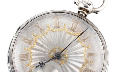 A STERLING SILVER OPEN FACE POCKET WATCH; silver dial, applied gilt Roman numerals, subsidiary seconds, fusee movement, case diam. 5...