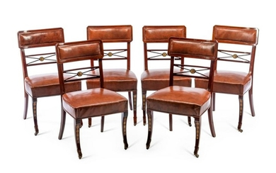 A Set of Six Baltic Marquetry Decorated Dining Chairs