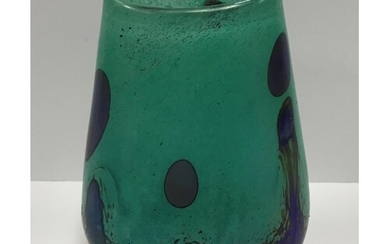 A Siddy Langley turquoise blue and ink blue bubble vase, sig...