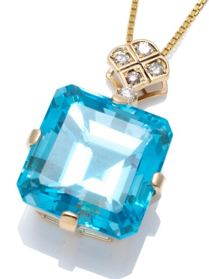 A TOPAZ AND DIAMOND PENDANT NECKLACE; featuring an 18ct gold set square emerald cut blue topaz of approx. 41.00cts (19 x 19.4mm) to...