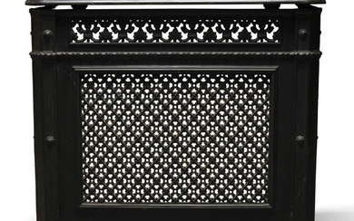 A Victorian cast iron and black painted radiator cover, with...