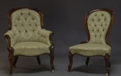 A Victorian mahogany and upholstered gentleman's armchair together with matching...