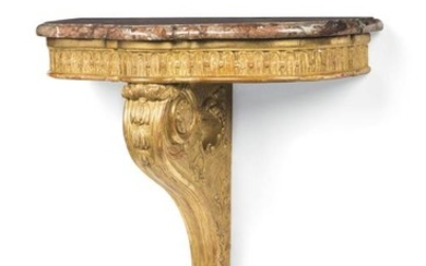 A carved giltwood console table, late 19th century